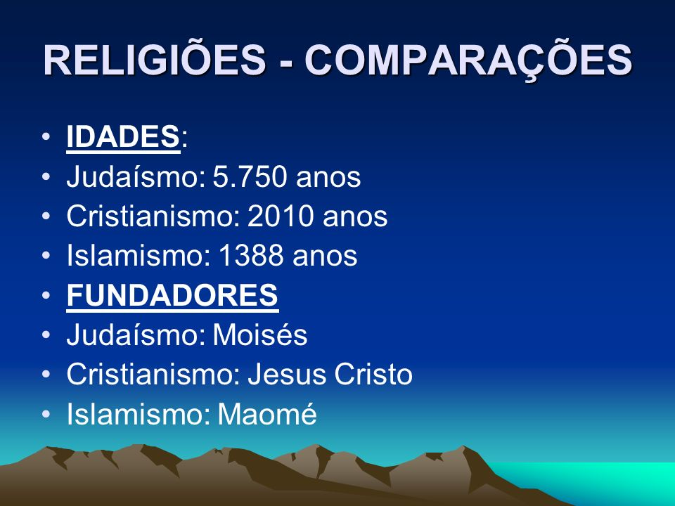 RELIGIÕES - COMPARAÇÕES IDADES: Judaísmo: 5.750 anos Cristianismo: 2010 anos Islamismo: 1388 anos FUNDADORES Judaísmo: Moisés Cristianismo: Jesus Cristo Islamismo: Maomé