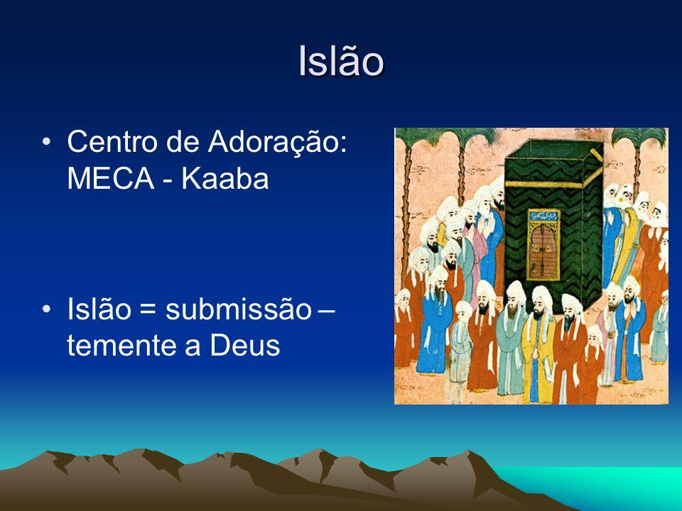 Islão Centro de Adoração: MECA - Kaaba Islão = submissão – temente a Deus