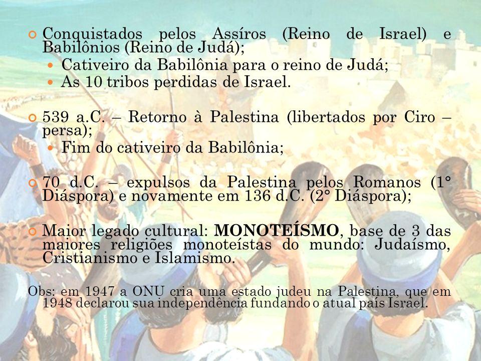 Conquistados pelos Assíros (Reino de Israel) e Babilônios (Reino de Judá); Cativeiro da Babilônia para o reino de Judá; As 10 tribos perdidas de Israe