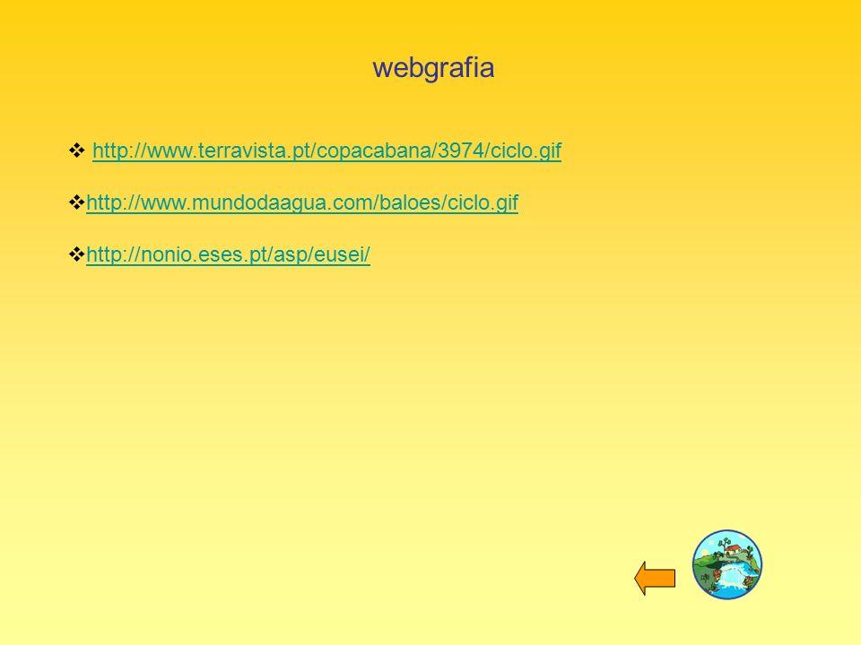 webgrafia  http://www.terravista.pt/copacabana/3974/ciclo.gifhttp://www.terravista.pt/copacabana/3974/ciclo.gif  http://www.mundodaagua.com/baloes/ciclo.gif http://www.mundodaagua.com/baloes/ciclo.gif  http://nonio.eses.pt/asp/eusei/ http://nonio.eses.pt/asp/eusei/