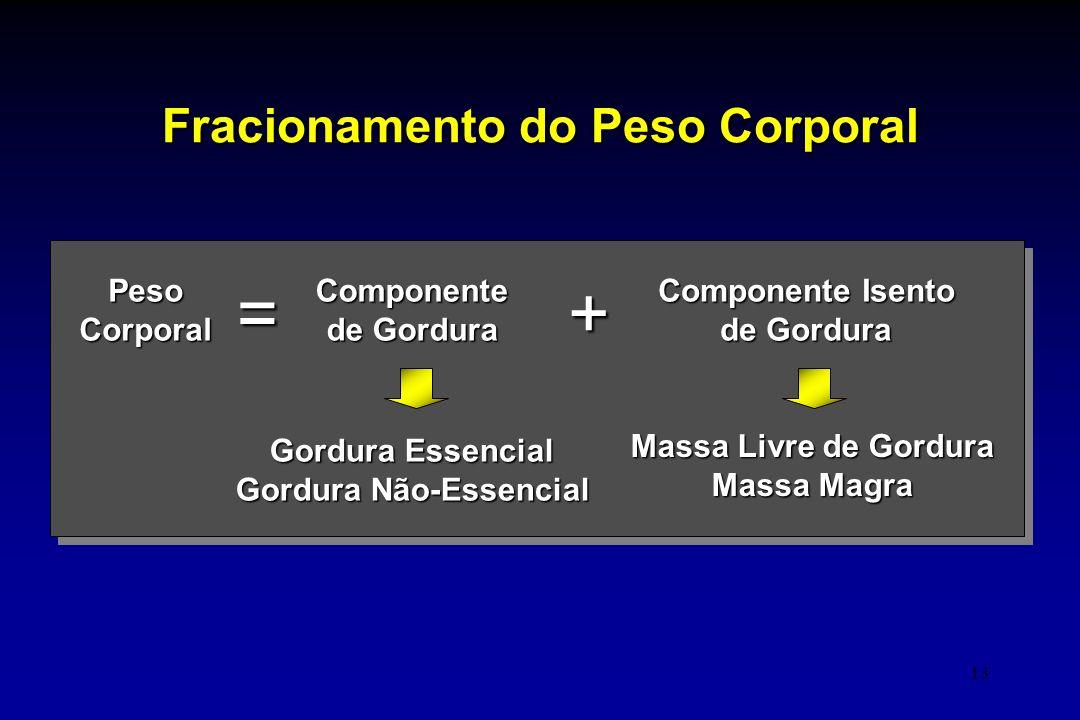 13 Fracionamento do Peso Corporal PesoCorporalComponente de Gordura Componente Isento de Gordura =+ Gordura Essencial Gordura Não-Essencial Massa Livr