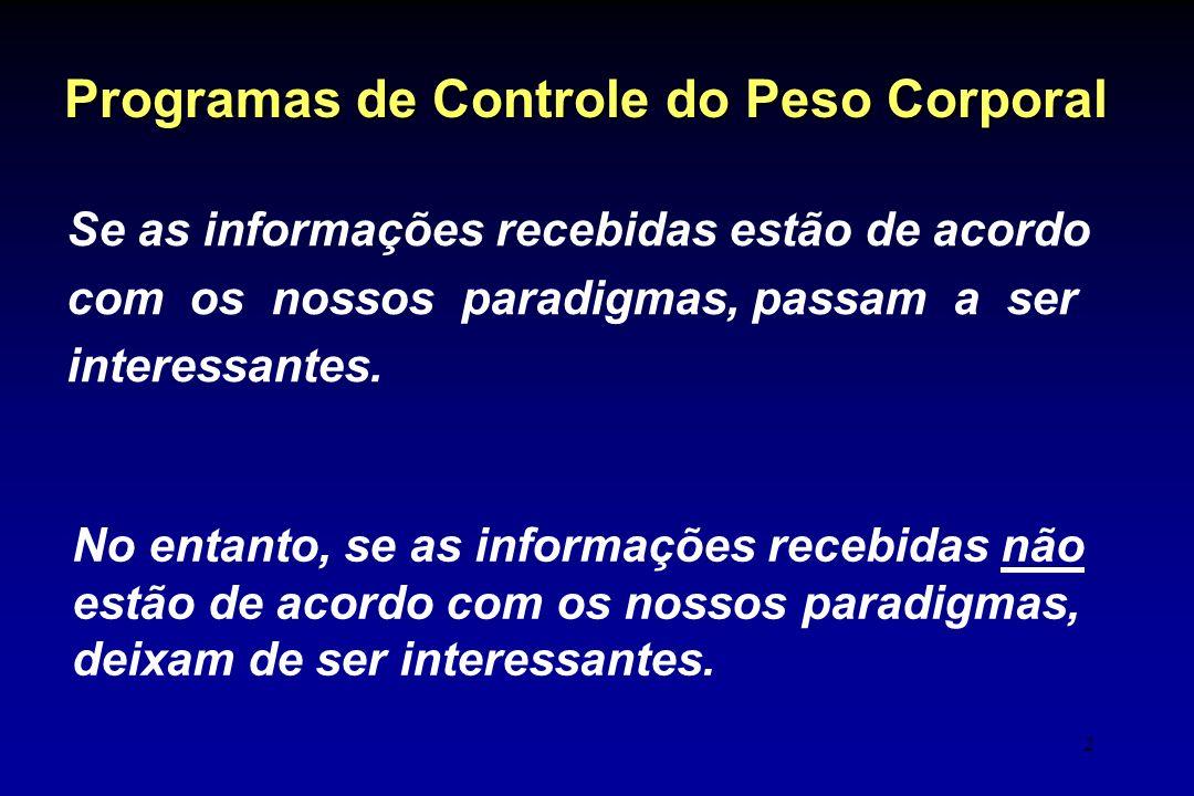 2 Se as informações recebidas estão de acordo com os nossos paradigmas, passam a ser interessantes. Programas de Controle do Peso Corporal No entanto,