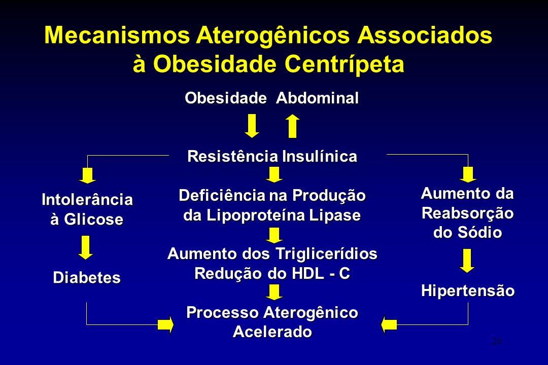 20 Obesidade Abdominal Resistência Insulínica Deficiência na Produção da Lipoproteína Lipase Aumento dos Triglicerídios Redução do HDL - C Processo At