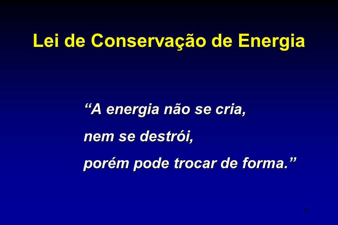 """25 Lei de Conservação de Energia """"A energia não se cria, nem se destrói, porém pode trocar de forma."""""""