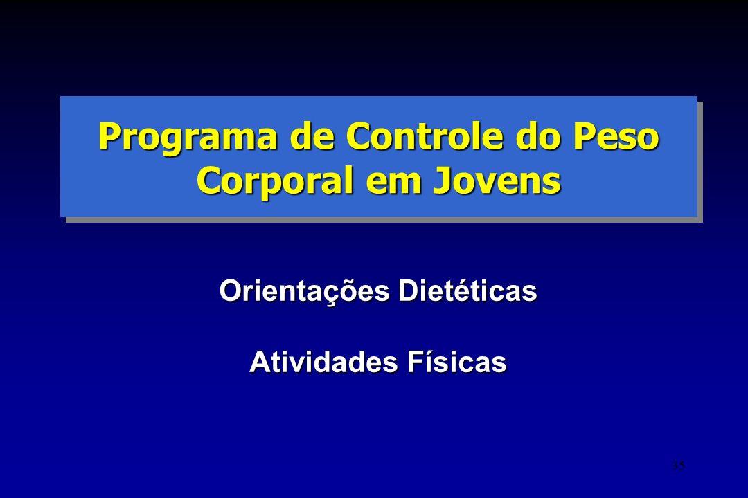 35 Programa de Controle do Peso Corporal em Jovens Orientações Dietéticas Atividades Físicas