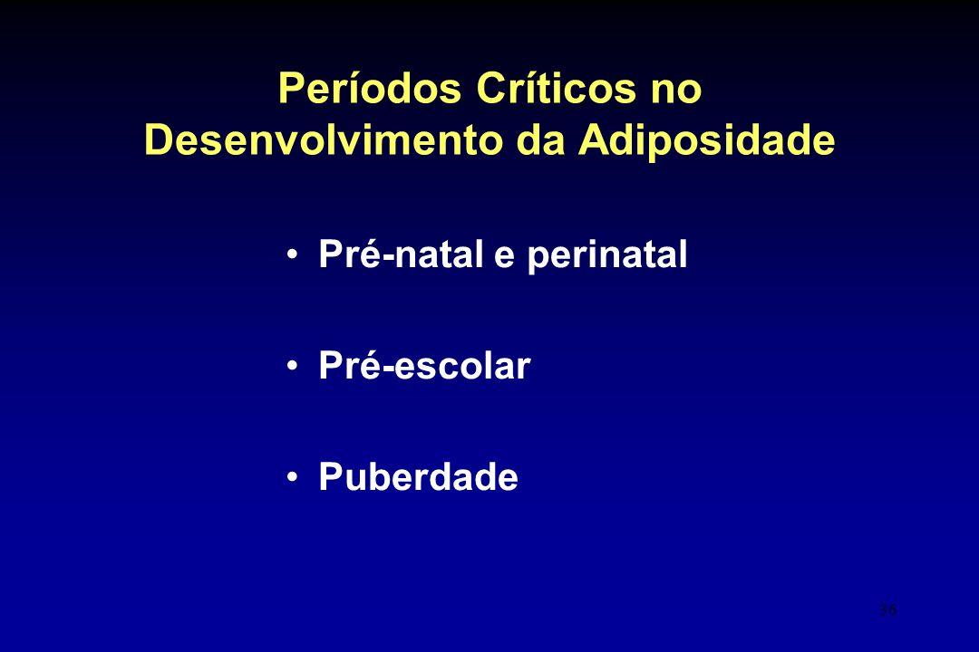 36 Períodos Críticos no Desenvolvimento da Adiposidade Pré-natal e perinatal Pré-escolar Puberdade