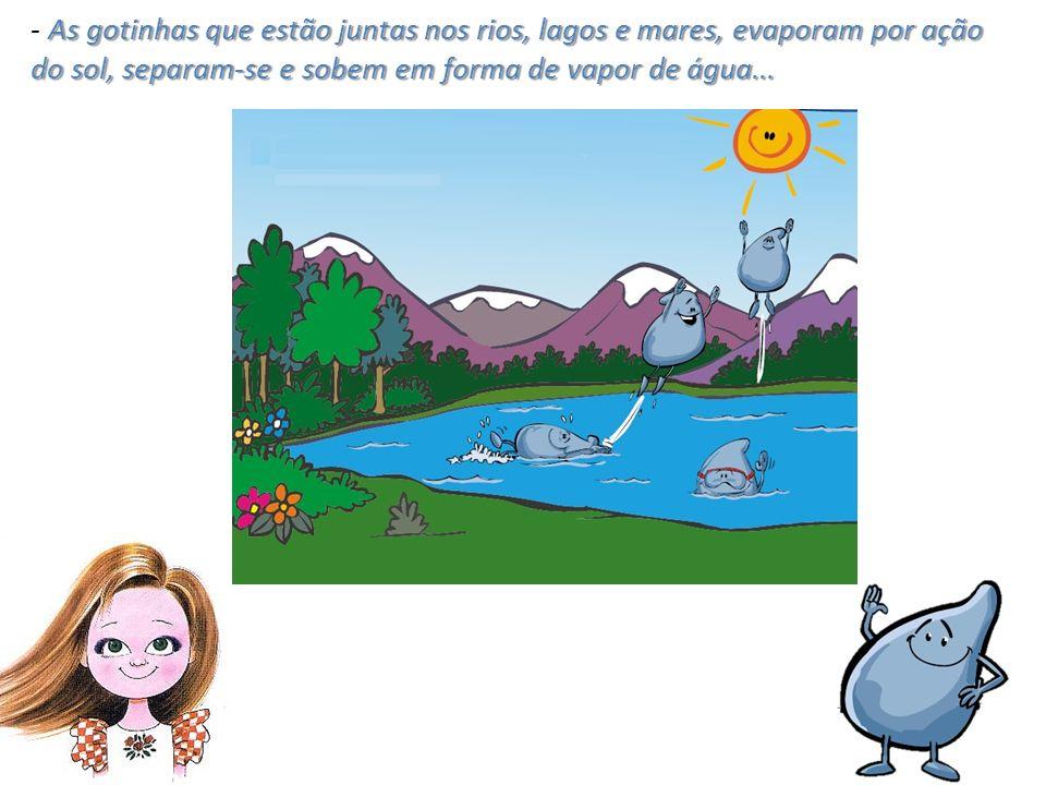 As gotinhas que estão juntas nos rios, lagos e mares, evaporam por ação do sol, separam-se e sobem em forma de vapor de água...