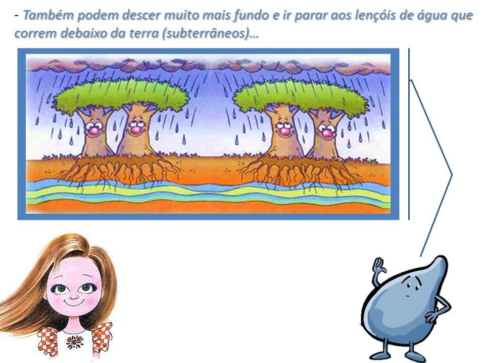 Também podem descer muito mais fundo e ir parar aos lençóis de água que correm debaixo da terra (subterrâneos)… - Também podem descer muito mais fundo e ir parar aos lençóis de água que correm debaixo da terra (subterrâneos)…
