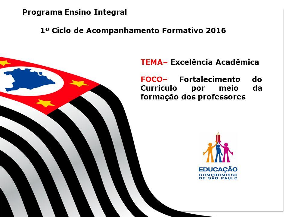 1 GT - RECUPERAÇÃO Programa Ensino Integral 1º Ciclo de Acompanhamento Formativo 2016 TEMA– Excelência Acadêmica FOCO– Fortalecimento do Currículo por meio da formação dos professores