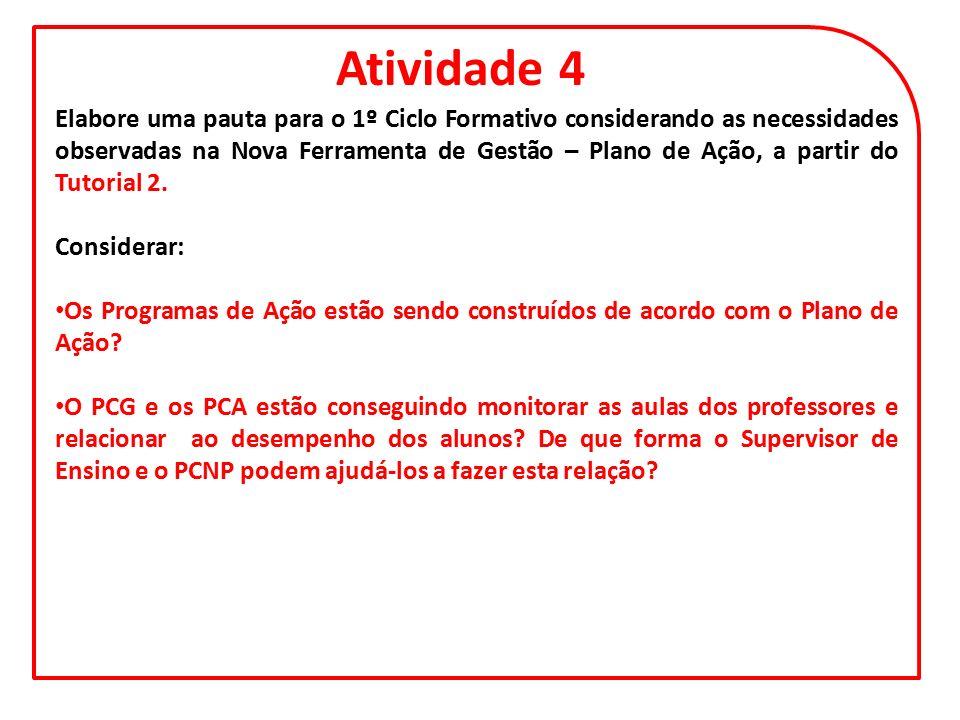 Atividade 4 Elabore uma pauta para o 1º Ciclo Formativo considerando as necessidades observadas na Nova Ferramenta de Gestão – Plano de Ação, a partir do Tutorial 2.