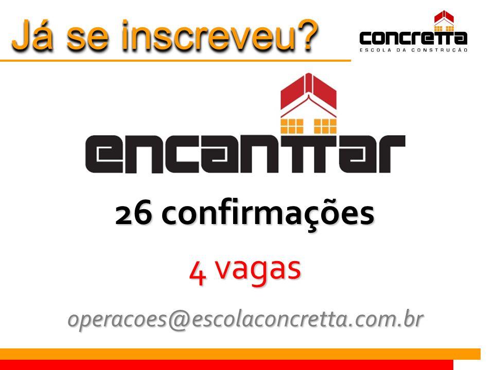 Já se inscreveu 26 confirmações 4 vagas operacoes@escolaconcretta.com.br