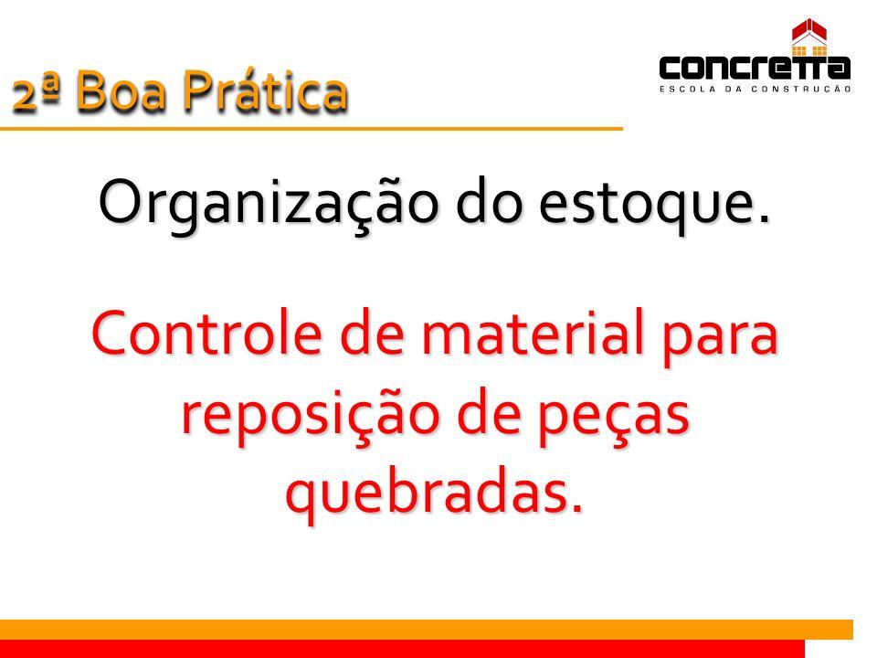 Organização do estoque. Controle de material para reposição de peças quebradas. 2 ª Boa Prática