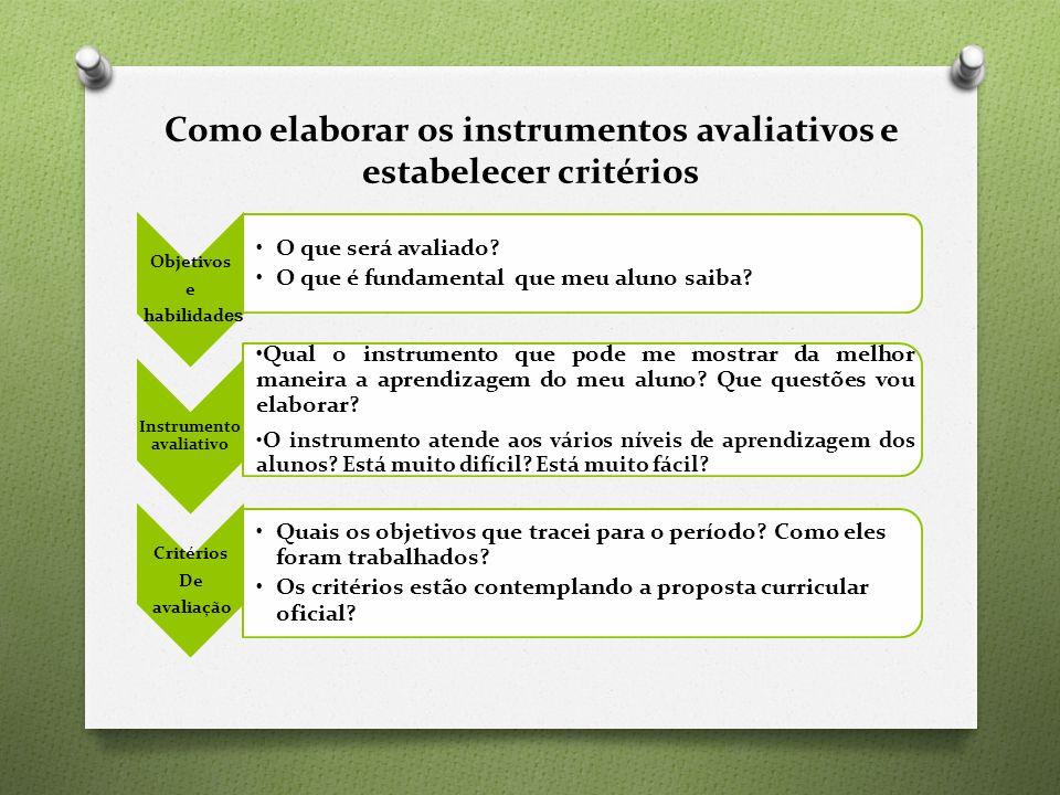 Como elaborar os instrumentos avaliativos e estabelecer critérios Objetivos e habilidad es O que será avaliado.