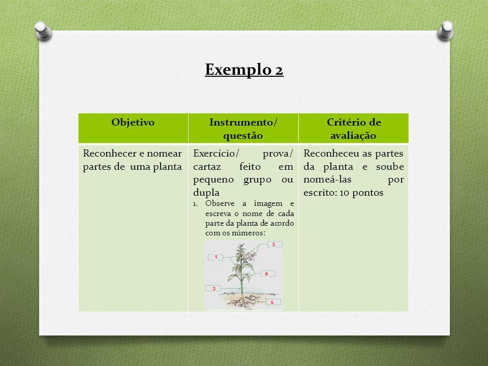 Exemplo 2 ObjetivoInstrumento/ questão Critério de avaliação Reconhecer e nomear partes de uma planta Exercício/ prova/ cartaz feito em pequeno grupo ou dupla 1.Observe a imagem e escreva o nome de cada parte da planta de acordo com os números: Reconheceu as partes da planta e soube nomeá-las por escrito: 10 pontos