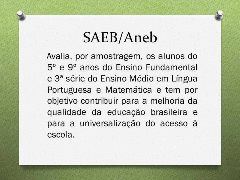 SAEB/Aneb Avalia, por amostragem, os alunos do 5º e 9º anos do Ensino Fundamental e 3ª série do Ensino Médio em Língua Portuguesa e Matemática e tem por objetivo contribuir para a melhoria da qualidade da educação brasileira e para a universalização do acesso à escola.