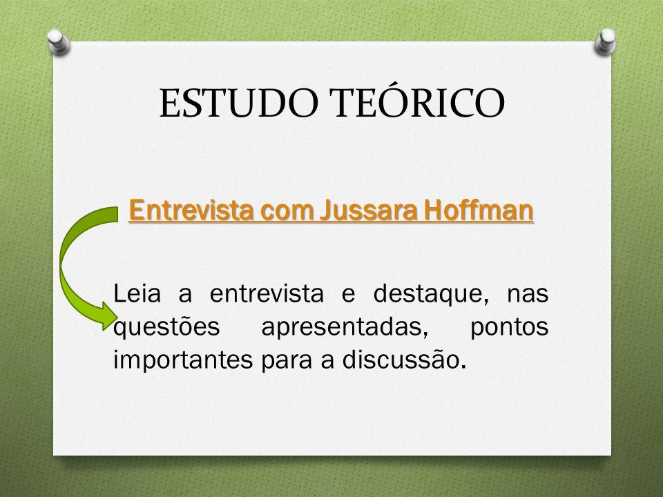 ESTUDO TEÓRICO Entrevista com Jussara Hoffman Entrevista com Jussara Hoffman Leia a entrevista e destaque, nas questões apresentadas, pontos importantes para a discussão.