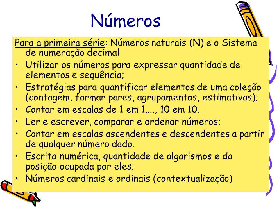 Números Para a primeira série: Números naturais (N) e o Sistema de numeração decimal Utilizar os números para expressar quantidade de elementos e sequ