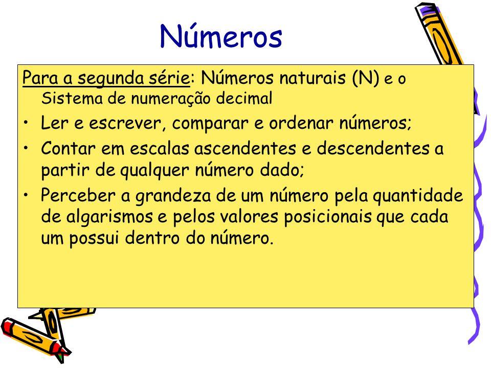 Números Para a segunda série: Números naturais (N) e o Sistema de numeração decimal Ler e escrever, comparar e ordenar números; Contar em escalas asce