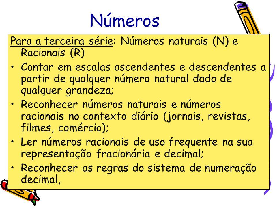 Números Para a terceira série: Números naturais (N) e Racionais (R) Contar em escalas ascendentes e descendentes a partir de qualquer número natural d