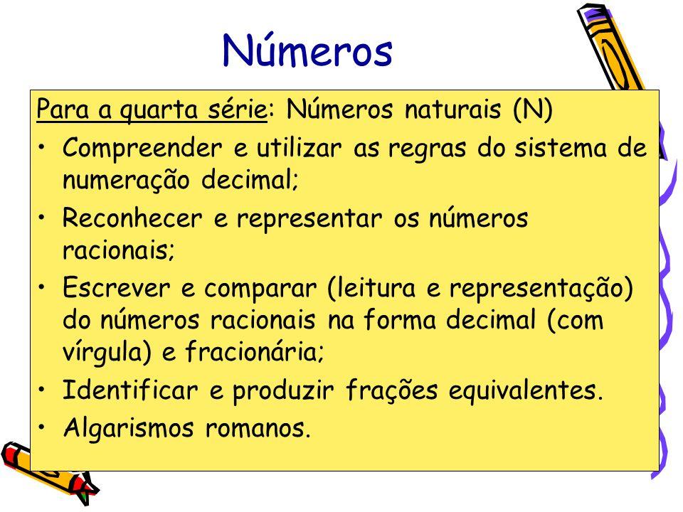 Números Para a quarta série: Números naturais (N) Compreender e utilizar as regras do sistema de numeração decimal; Reconhecer e representar os número