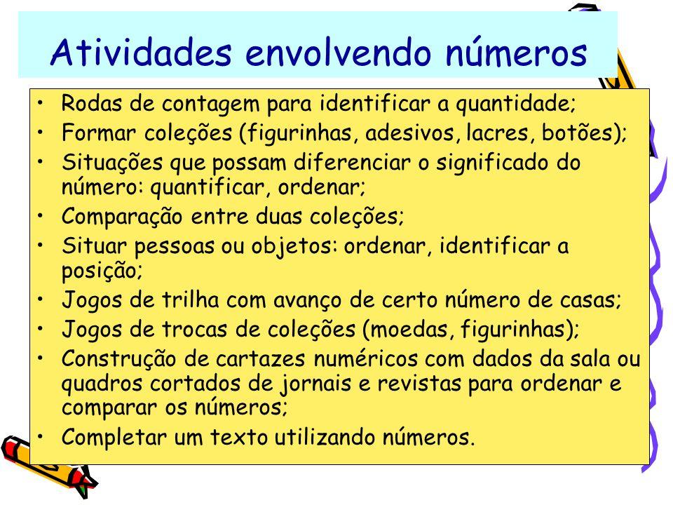 Atividades envolvendo números Rodas de contagem para identificar a quantidade; Formar coleções (figurinhas, adesivos, lacres, botões); Situações que p