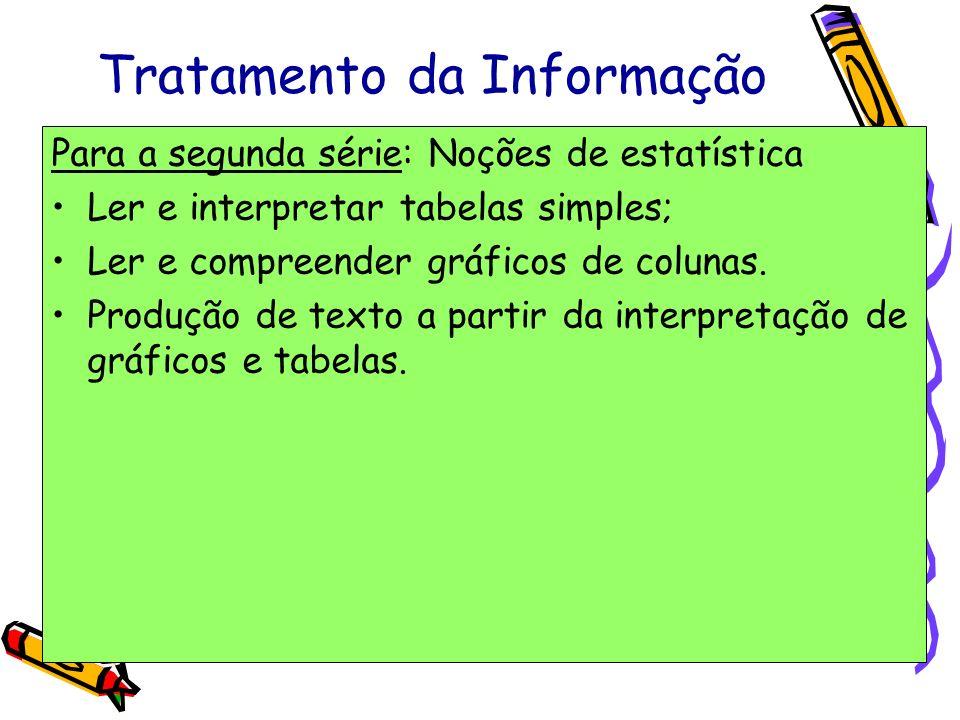 Tratamento da Informação Para a segunda série: Noções de estatística Ler e interpretar tabelas simples; Ler e compreender gráficos de colunas. Produçã