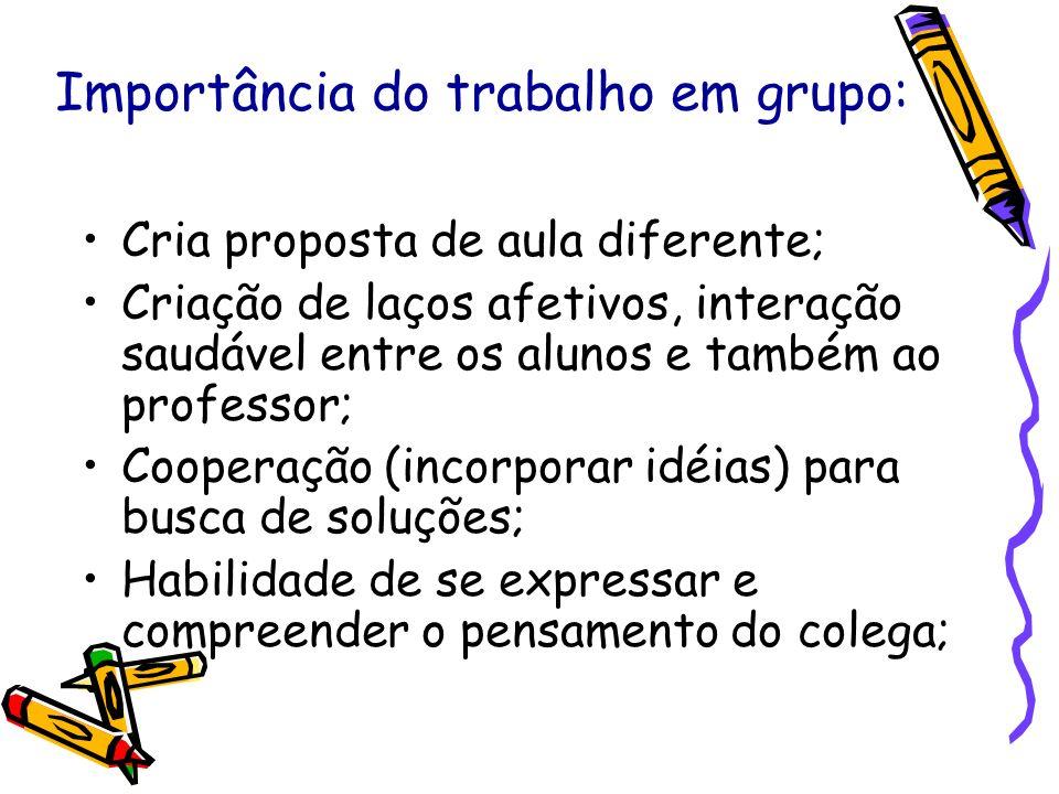 Importância do trabalho em grupo: Cria proposta de aula diferente; Criação de laços afetivos, interação saudável entre os alunos e também ao professor