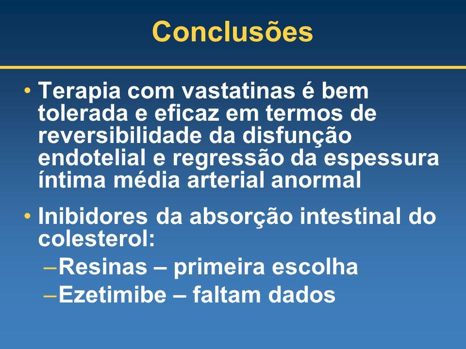 Conclusões Terapia com vastatinas é bem tolerada e eficaz em termos de reversibilidade da disfunção endotelial e regressão da espessura íntima média a