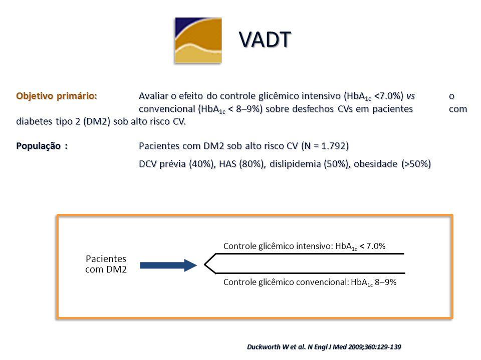 Objetivo primário:Avaliar o efeito do controle glicêmico intensivo (HbA 1c <7.0%) vs o convencional (HbA 1c < 8–9%) sobre desfechos CVs em pacientes com diabetes tipo 2 (DM2) sob alto risco CV.