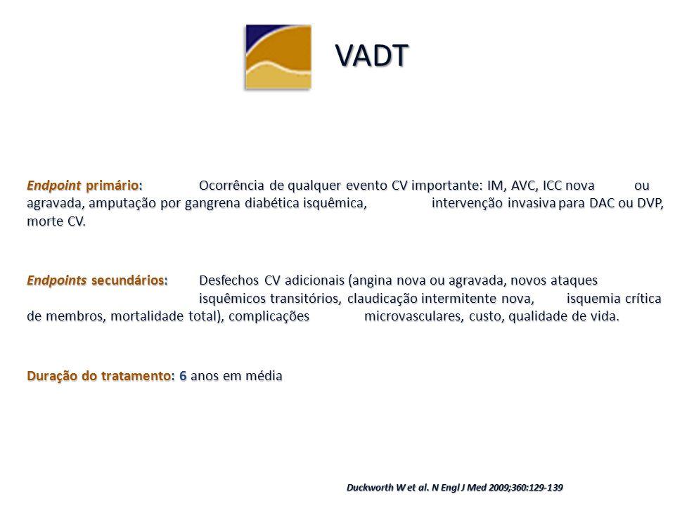 Endpoint primário: Ocorrência de qualquer evento CV importante: IM, AVC, ICC nova ou agravada, amputação por gangrena diabética isquêmica, intervenção invasiva para DAC ou DVP, morte CV.