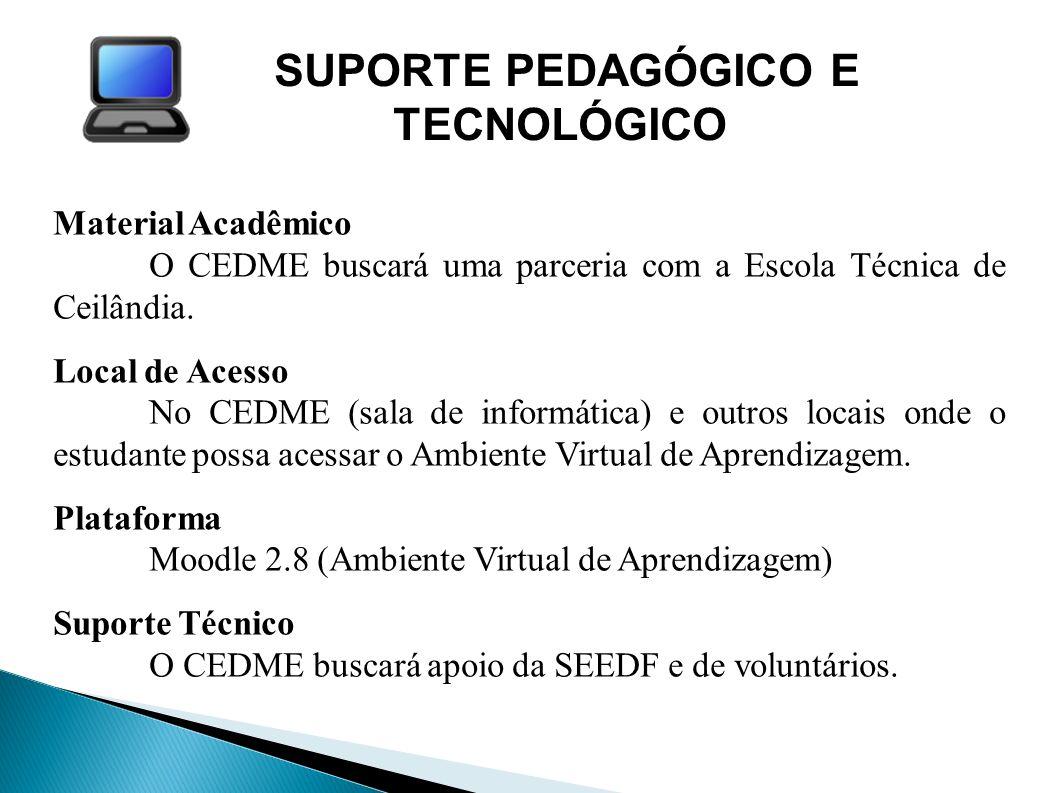 SUPORTE PEDAGÓGICO E TECNOLÓGICO Material Acadêmico O CEDME buscará uma parceria com a Escola Técnica de Ceilândia. Local de Acesso No CEDME (sala de