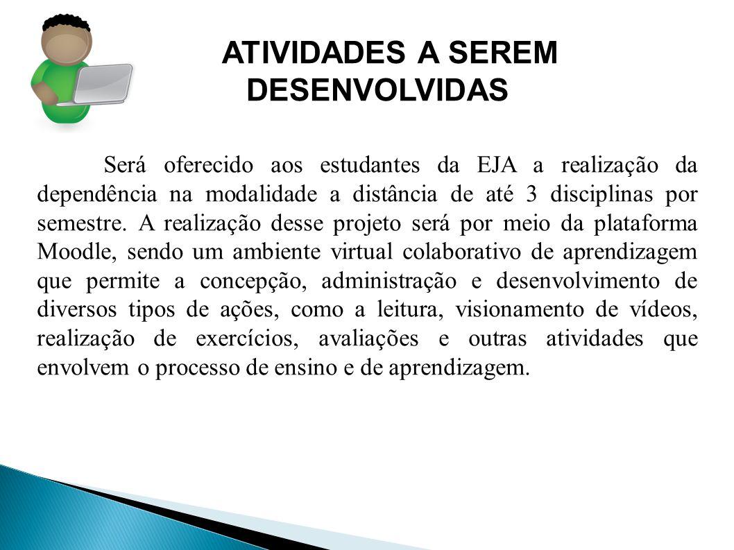 ATIVIDADES A SEREM DESENVOLVIDAS Será oferecido aos estudantes da EJA a realização da dependência na modalidade a distância de até 3 disciplinas por s