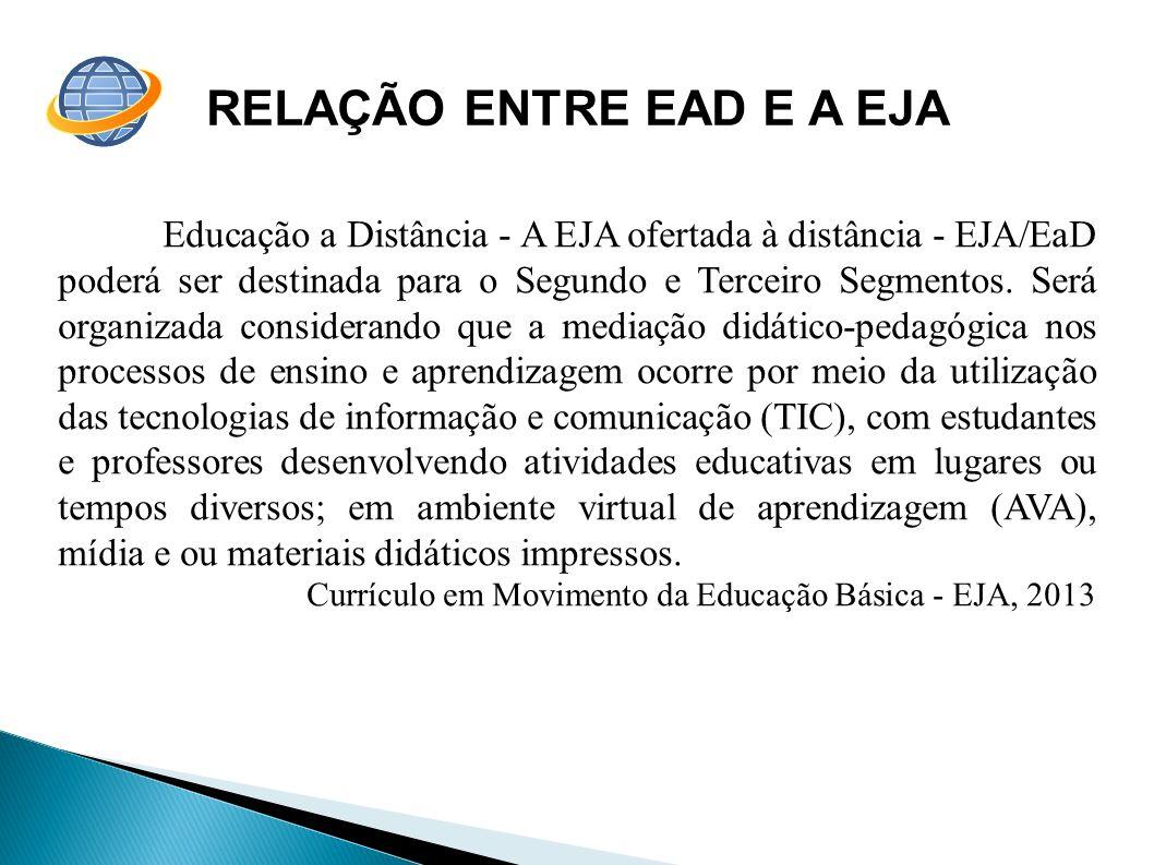 RELAÇÃO ENTRE EAD E A EJA Educação a Distância - A EJA ofertada à distância - EJA/EaD poderá ser destinada para o Segundo e Terceiro Segmentos. Será o