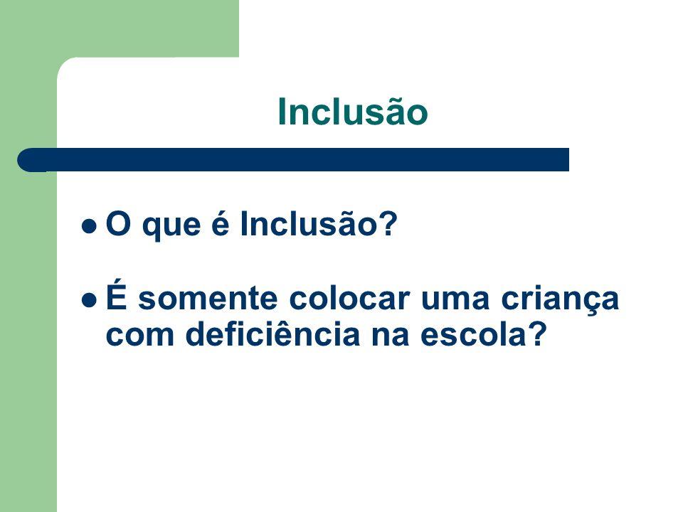 Inclusão O que é Inclusão É somente colocar uma criança com deficiência na escola