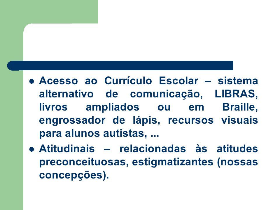 Acesso ao Currículo Escolar – sistema alternativo de comunicação, LIBRAS, livros ampliados ou em Braille, engrossador de lápis, recursos visuais para alunos autistas,...