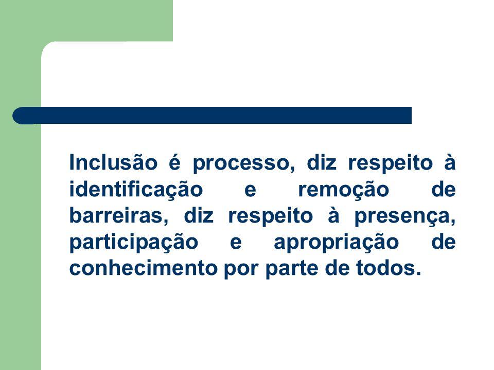 Inclusão é processo, diz respeito à identificação e remoção de barreiras, diz respeito à presença, participação e apropriação de conhecimento por parte de todos.