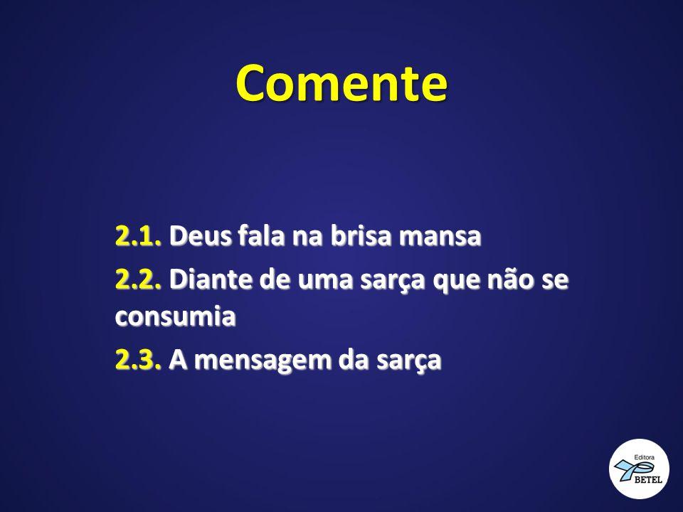 Comente 2.1. Deus fala na brisa mansa 2.2. Diante de uma sarça que não se consumia 2.3. A mensagem da sarça