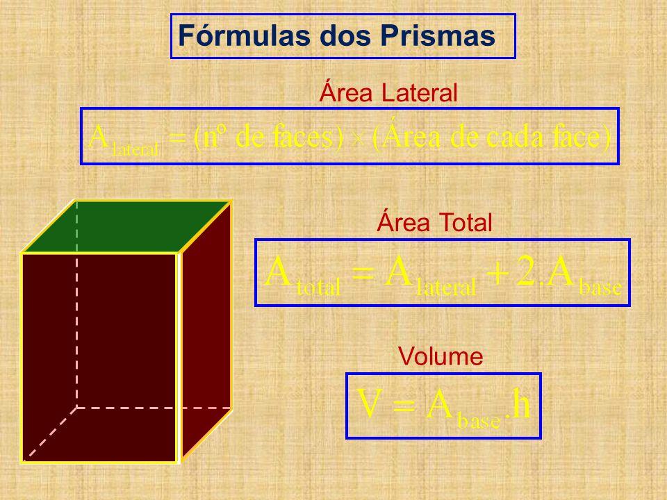 Fórmulas dos Prismas Área Lateral Área Total Volume