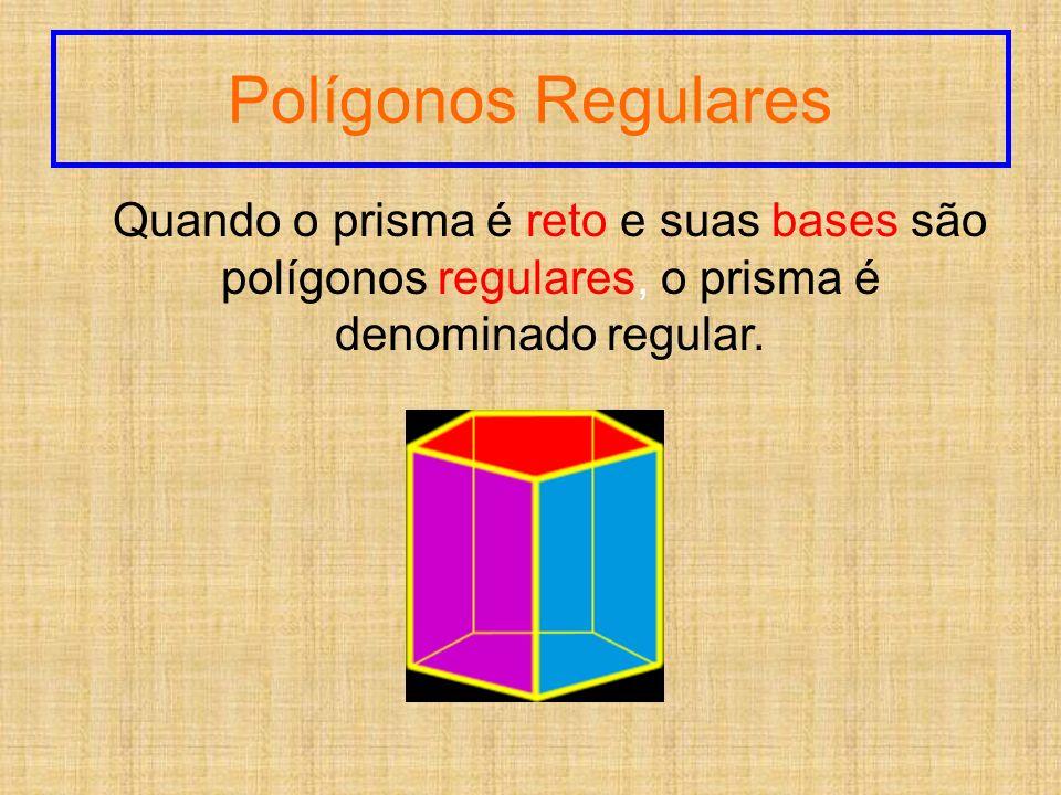 Polígonos Regulares Quando o prisma é reto e suas bases são polígonos regulares, o prisma é denominado regular.