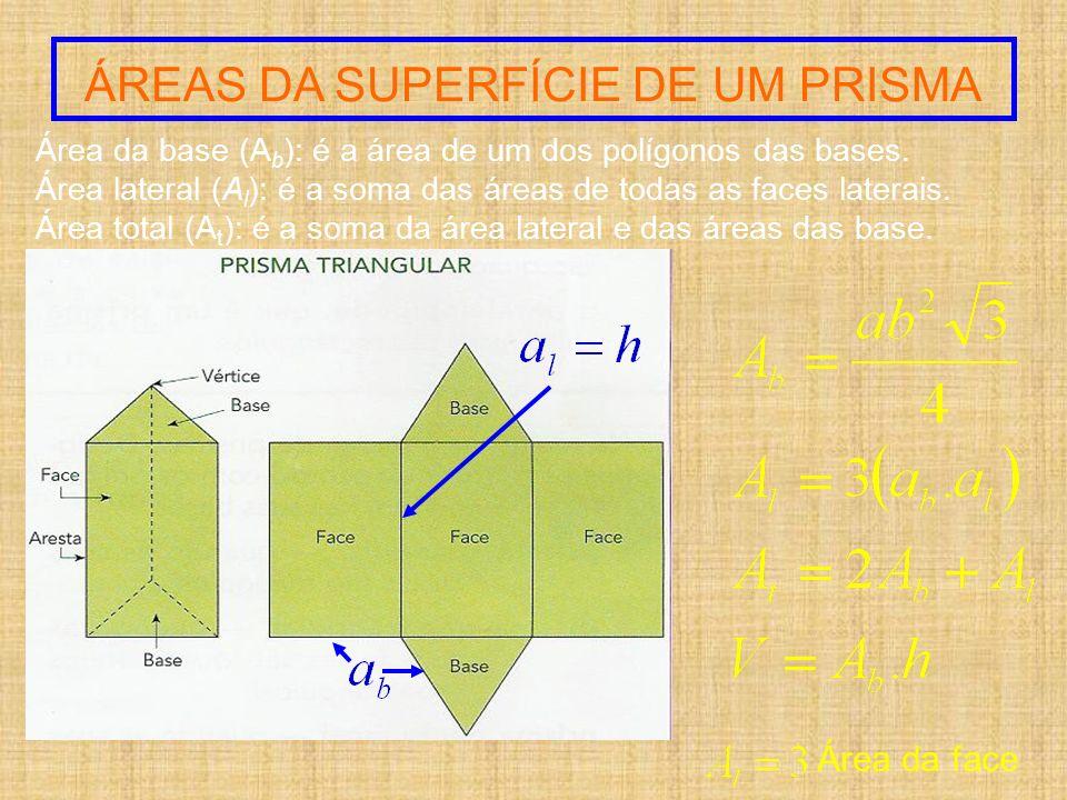 Área da base (A b ): é a área de um dos polígonos das bases. Área lateral (A l ): é a soma das áreas de todas as faces laterais. Área total (A t ): é