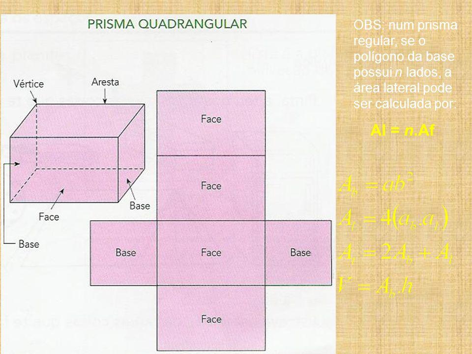 OBS: num prisma regular, se o polígono da base possui n lados, a área lateral pode ser calculada por: Al = n.Af