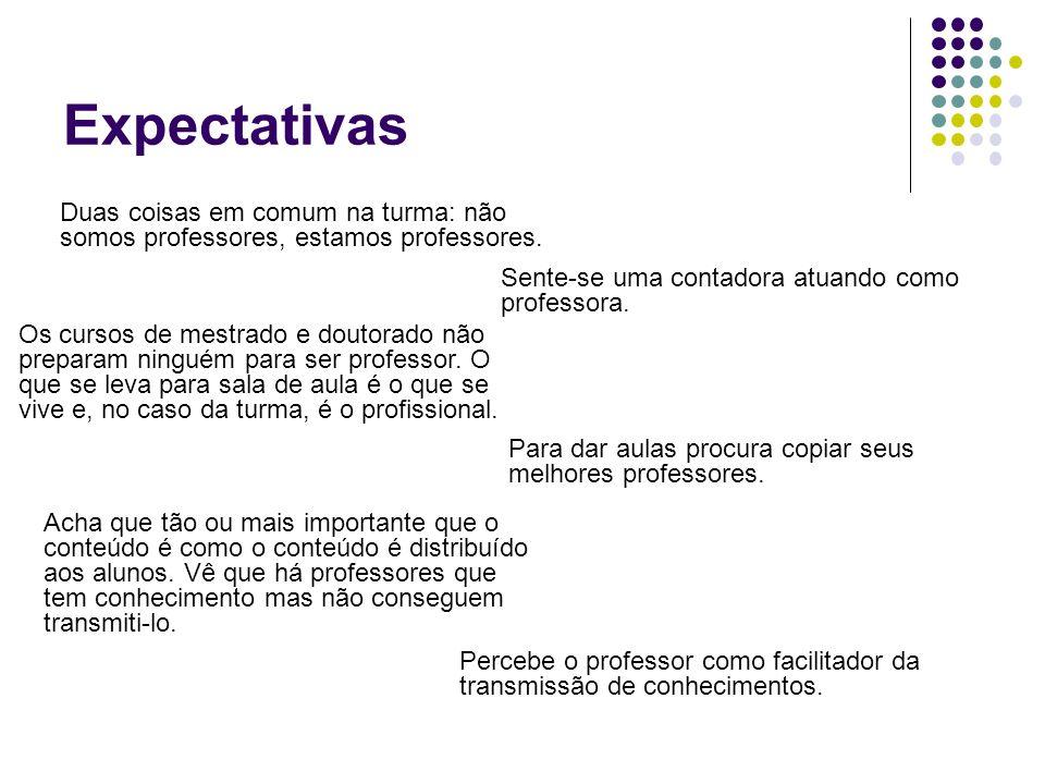 Expectativas Duas coisas em comum na turma: não somos professores, estamos professores.