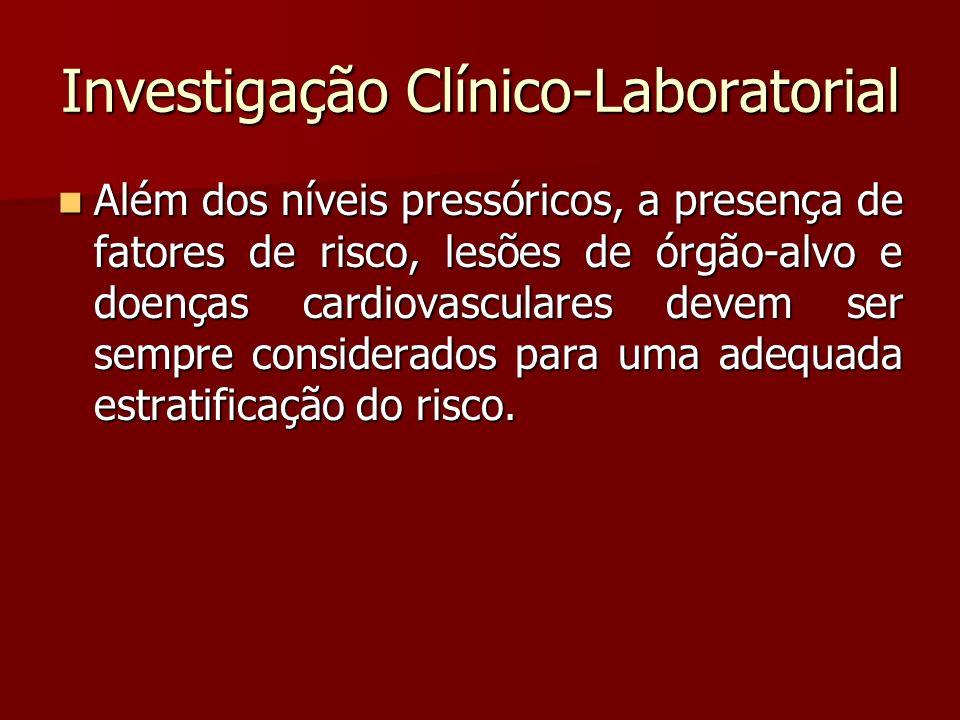 Investigação Clínico-Laboratorial Além dos níveis pressóricos, a presença de fatores de risco, lesões de órgão-alvo e doenças cardiovasculares devem s