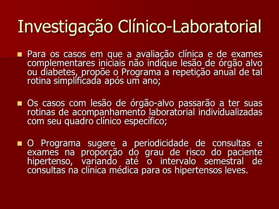 Investigação Clínico-Laboratorial Para os casos em que a avaliação clínica e de exames complementares iniciais não indique lesão de órgão alvo ou diab