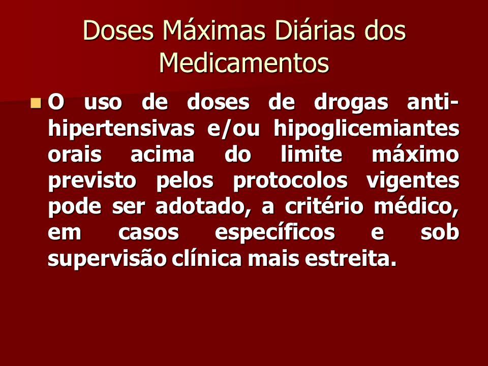 Doses Máximas Diárias dos Medicamentos O uso de doses de drogas anti- hipertensivas e/ou hipoglicemiantes orais acima do limite máximo previsto pelos