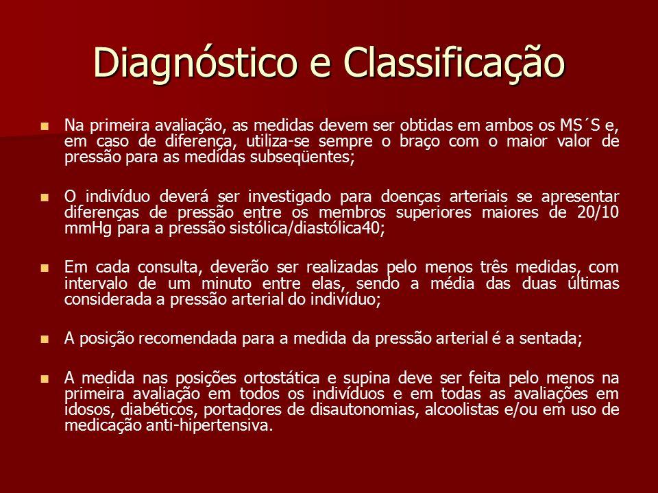 Diagnóstico e Classificação Na primeira avaliação, as medidas devem ser obtidas em ambos os MS´S e, em caso de diferença, utiliza-se sempre o braço co