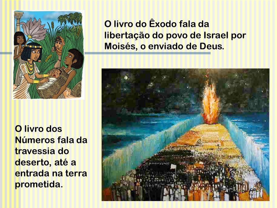 O livro do Êxodo fala da libertação do povo de Israel por Moisés, o enviado de Deus. O livro dos Números fala da travessia do deserto, até a entrada n
