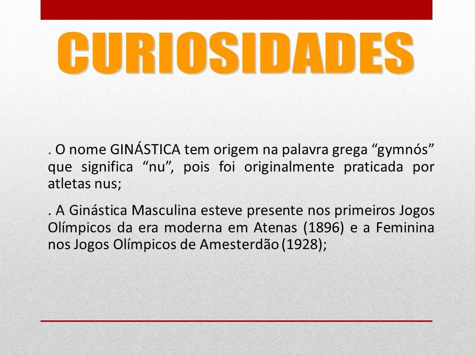 O nome GINÁSTICA tem origem na palavra grega gymnós que significa nu , pois foi originalmente praticada por atletas nus;.