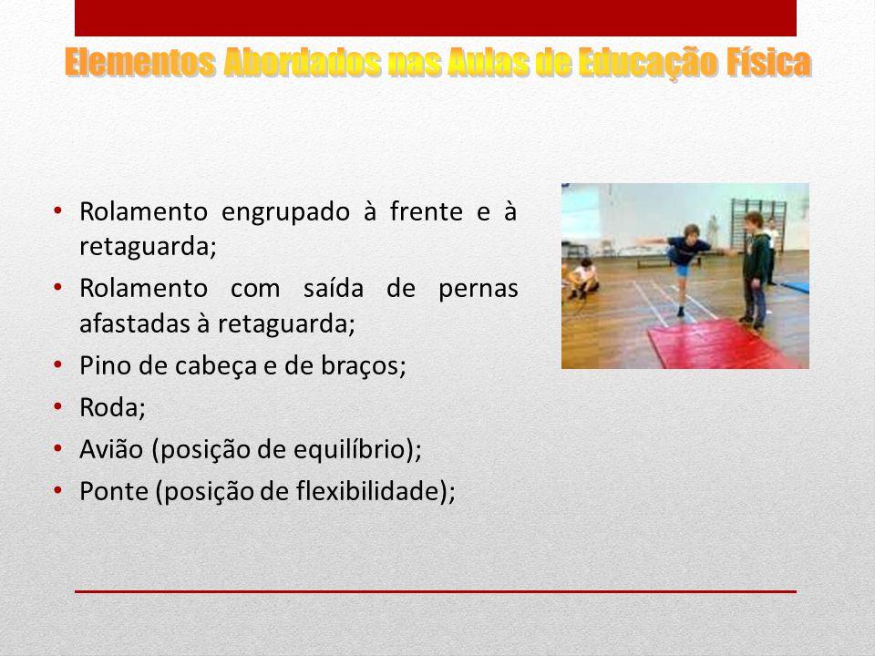 Rolamento engrupado à frente e à retaguarda; Rolamento com saída de pernas afastadas à retaguarda; Pino de cabeça e de braços; Roda; Avião (posição de equilíbrio); Ponte (posição de flexibilidade);