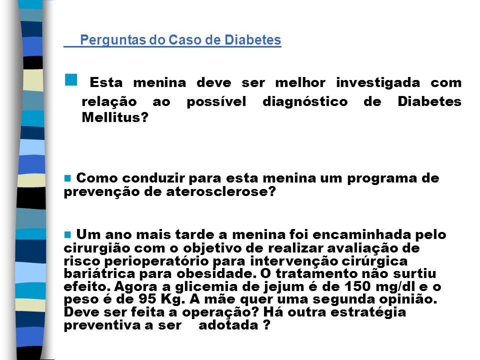 Perguntas do Caso de Diabetes Esta menina deve ser melhor investigada com relação ao possível diagnóstico de Diabetes Mellitus? Como conduzir para est